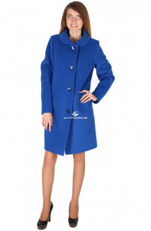 Купить оптом пальто женское синего цвета 16318S в интернет магазине MTFORCE.RU