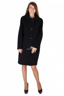 Купить оптом пальто женское черного цвета 16318Ch в интернет магазине MTFORCE.RU