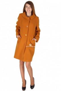Купить оптом пальто женское горчичного цвета 16318G в интернет магазине MTFORCE.RU