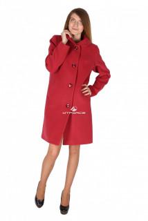 Купить оптом пальто женское бордового цвета 16318Bo в интернет магазине MTFORCE.RU