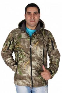 Ветровка - виндстоппер мужская болотного цвета 1637Bt