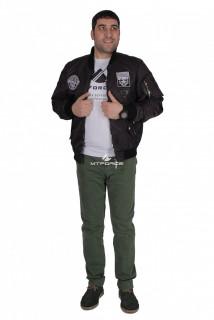Интернет магазин MTFORCE.ru предлагает купить оптом куртка-бомбер мужскую свободного кроя черного цвета 17021Ch по выгодной и доступной цене с доставкой по всей России и СНГ