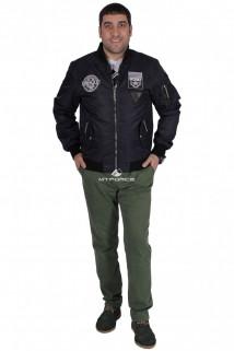 Куртка-бомбер мужской свободного кроя темно-синего цвета 17021TS в интернет магазине MTFORCE.RU