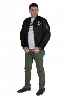 Интернет магазин MTFORCE.ru предлагает купить оптом куртка-бомбер мужскую свободного кроя  черного цвета 17023Ch по выгодной и доступной цене с доставкой по всей России и СНГ