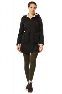 Купить оптом куртка парка демисезонная женская черного цвета 17099Ch в интернет магазине MTFORCE.RU