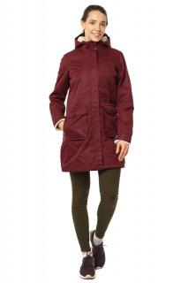 Купить оптом куртка парка демисезонная женская писк сезона бордового цвета 17099Bo в интернет магазине MTFORCE.RU