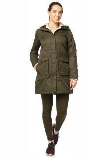Купить оптом куртка парка демисезонная женская хаки цвета 17099Kh в интернет магазине MTFORCE.RU