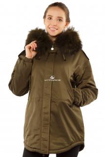 Купить оптом куртку парку тренд большого размера цвета хаки 11711Kh в интернет магазине MTFORCE.RU