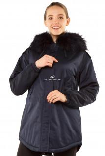 Купить оптом куртку парку тренд большого размера темно-синего цвета 11711TS в интернет магазине MTFORCE.RU