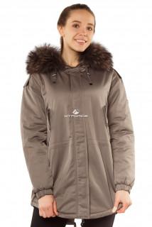Купить оптом куртку парку тренд большого размера серого цвета 11711Sr в интернет магазине MTFORCE.RU