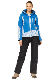 Купить оптом костюм горнолыжный женский синего цвета 017122S в интернет магазине MTFORCE.RU