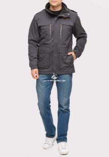Купить оптом куртка мужская осень весна темно-серого цвета 1718-1TC в интернет магазине MTFORCE.RU