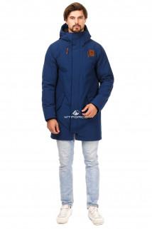 Купить оптом куртку парку мужскую осень весна темно-синего цвета 1720TS в интернет магазине MTFORCE.RU