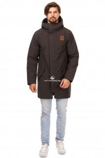 Купить оптом куртку парку мужскую осень весна темно-серого цвета 1720TC в интернет магазине MTFORCE.RU