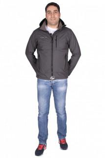 Купить оптом ветровка - виндстоппер мужская серого цвета 1733Sr в интернет магазине MTFORCE.RU