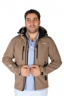 Купить оптом ветровка - виндстоппер мужская бежевого цвета 1739B в интернет магазине MTFORCE.RU