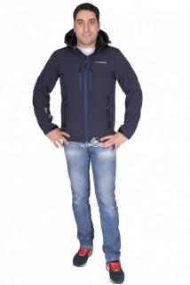 Купить оптом ветровка - виндстоппер мужская темно-синего цвета 1739TS в интернет магазине MTFORCE.RU