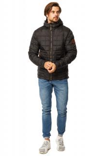 Купить оптом куртку мужскую стеганную черного цвета 1741Ch в интернет магазине MTFORCE.RU