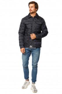 Купить оптом куртку мужскую стеганную темно-синего цвета 1743TS в интернет магазине MTFORCE.RU