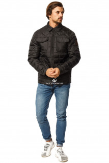 Купить оптом куртку мужскую стеганную черного цвета 1743Ch в интернет магазине MTFORCE.RU