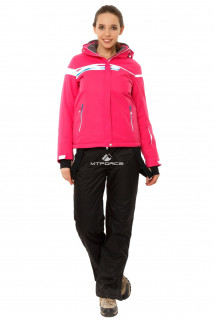 Купить оптом костюм горнолыжный женский розового цвета 01745R в интернет магазине MTFORCE.RU