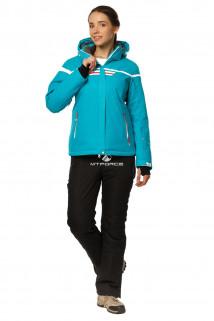 Купить оптом костюм горнолыжный женский бирюзового цвета 01745Br в интернет магазине MTFORCE.RU