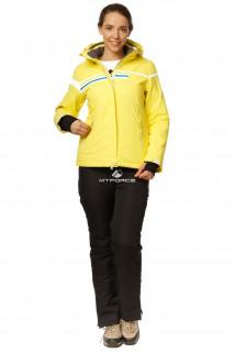 Купить оптом костюм горнолыжный женский желтого цвета 01745J в интернет магазине MTFORCE.RU
