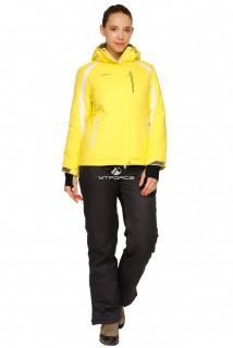 Купить оптом костюм горнолыжный женский желтого цвета 01746J в интернет магазине MTFORCE.RU