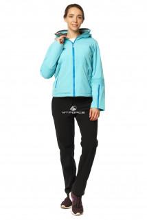 Купить оптом костюм женский осень весна бирюзового цвета 01752Br в интернет магазине MTFORCE.RU