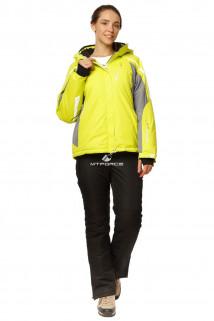 Купить оптом костюм горнолыжный женский желтого цвета 01765J в интернет магазине MTFORCE.RU