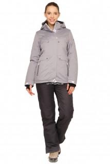 Купить оптом костюм горнолыжный женский серого цвета 01770Sr в интернет магазине MTFORCE.RU