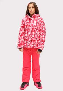 Купить оптом костюм горнолыжный для девочки розового цвета 01773R в интернет магазине MTFORCE.RU