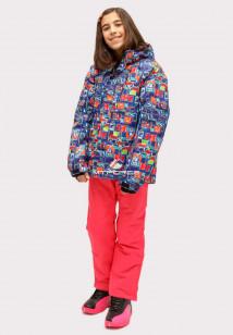 Купить оптом костюм горнолыжный для девочки оранжевого цвета 01773O в интернет магазине MTFORCE.RU