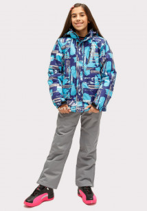 Купить оптом костюм горнолыжный для девочки голубого цвета 01773Gl в интернет магазине MTFORCE.RU