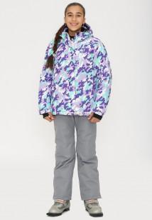 Купить оптом костюм горнолыжный для девочки фиолетового цвета 01774F в интернет магазине MTFORCE.RU