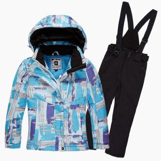 Купить оптом костюм горнолыжный для девочки голубого цвета 01774R в интернет магазине MTFORCE.RU