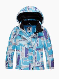 Купить оптом куртка горнолыжная подростковая для девочки голубого цвета 1774Gl в интернет магазине MTFORCE.RU