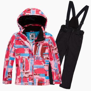 Купить оптом костюм горнолыжный для девочки розового цвета 01774R в интернет магазине MTFORCE.RU