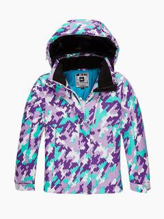 Купить оптом куртка горнолыжная подростковая для девочки фиолетового цвета 1774F в интернет магазине MTFORCE.RU