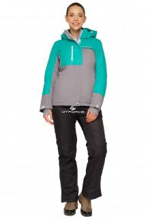 Купить оптом костюм горнолыжный женский зеленого цвета 01777Z в интернет магазине MTFORCE.RU