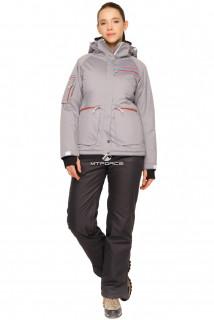 Купить оптом костюм горнолыжный женский серого цвета 01778Sr в интернет магазине MTFORCE.RU