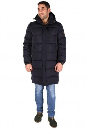 Купить оптом куртку зимнию удлиненную мужскую темно-синего цвета 1780TS в интернет магазине MTFORCE.RU