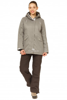Купить оптом костюм горнолыжный женский большого размера серого цвета 01783Sr в интернет магазине MTFORCE.RU