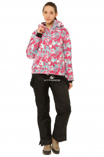 Купить оптом костюм горнолыжный женский розового цвета 01787R в интернет магазине MTFORCE.RU