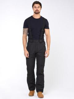 Горнолыжные брюки мужские зимние черного цвета купить оптом в интернет магазине MTFORCE 18005Ch
