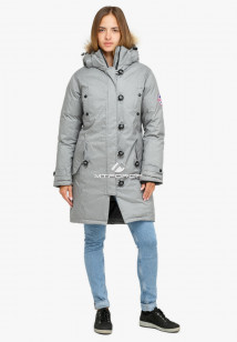 Купить оптом куртку парку зимнюю женскую светло-серого цвета 1805SS в интернет магазине MTFORCE.RU
