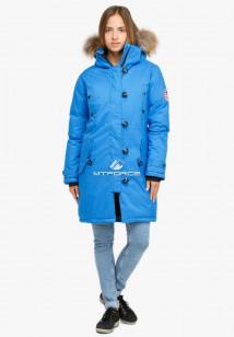 Купить оптом куртку парку зимнюю женскую синего цвета 1805S в интернет магазине MTFORCE.RU