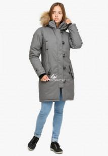Купить оптом куртку парку зимнюю женскую серого цвета 1805Sr в интернет магазине MTFORCE.RU