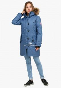 Купить оптом куртку парку зимнюю женскую голубого цвета 1805Gl в интернет магазине MTFORCE.RU