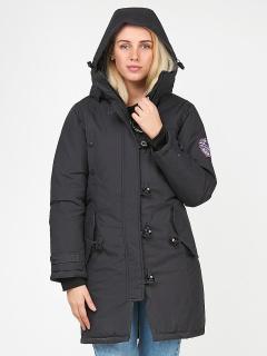 Купить оптом женскую зимнюю парку черного цвета в интернет магазине MTFORCE 1806Ch